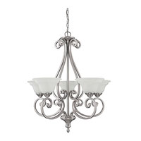 Chandler 5 Light 27 inch Matte Nickel Chandelier Ceiling Light in White Faux Alabaster
