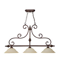 Capital Lighting Chandler 3 Light Island Light in Burnished Bronze with Mist Scavo Glass 3078BB
