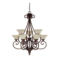 Capital Lighting Chandler 9 Light Chandelier in Burnished Bronze with Mist Scavo Glass 3079BB-292