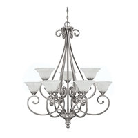 Chandler 9 Light 33 inch Matte Nickel Chandelier Ceiling Light in White Faux Alabaster