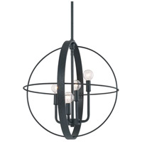 Signature 4 Light 19 inch Black Iron Pendant Ceiling Light