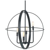 Signature 4 Light 23 inch Black Iron Pendant Ceiling Light