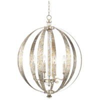 Charleston 4 Light 23 inch Silver and Gold Leaf Pendant Ceiling Light