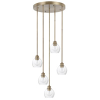 Capital Lighting 321151AD-426 Mid Century 5 Light 22 inch Aged Brass Pendant Ceiling Light
