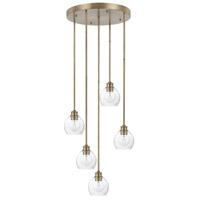Capital Lighting 321151AD-426 Mid Century 5 Light 22 inch Aged Brass Pendant Ceiling Light
