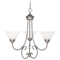Capital Lighting Hometown 3 Light Chandelier in Matte Nickel with Faux White Alabaster Glass 3223MN-220