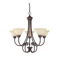 Capital Lighting Hometown 5 Light Chandelier in Burnished Bronze with Mist Scavo Glass 3226BB-257