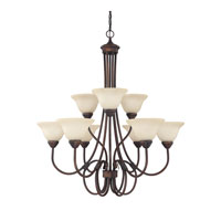 Capital Lighting Hometown 9 Light Chandelier in Burnished Bronze with Mist Scavo Glass 3229BB-257 photo thumbnail