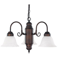 Capital Lighting Signature 3 Light Chandelier in Burnished Bronze with White Faux Alabaster Glass 3253BB-118