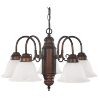 Capital Lighting Signature 5 Light Chandelier in Burnished Bronze with White Faux Alabaster Glass 3255BB-118