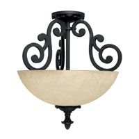 Capital Lighting Mediterranean 2 Light Semi-Flush Mount in Wrought Iron with Rust Scavo Glass 3262WI photo thumbnail
