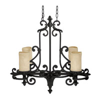 Capital Lighting Mediterranean 4 Light Chandelier in Wrought Iron with Rust Scavo Glass 3264WI-125 photo thumbnail