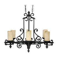Capital Lighting Mediterranean 6 Light Chandelier in Wrought Iron with Rust Scavo Glass 3267WI-125 photo thumbnail