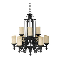 Capital Lighting Mediterranean 9 Light Chandelier in Wrought Iron with Rust Scavo Glass 3269WI-125 photo thumbnail