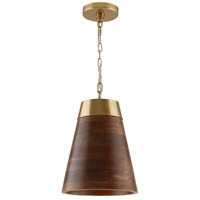 Capital Lighting 330314WR Elijah 1 Light 10 inch Wood and Brass Pendant Ceiling Light