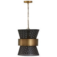 Capital Lighting 330417PK Elijah 1 Light 13 inch Patinaed Brass and Black Pendant Ceiling Light
