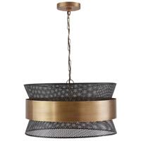 Capital Lighting 330447PK Vibes 4 Light 20 inch Patinaed Brass and Black Pendant Ceiling Light
