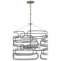 Capital Lighting 332161AB Arlo 6 Light 22 inch Aged Brass and Black Pendant Ceiling Light
