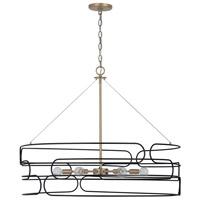 Capital Lighting 332162AB Arlo 6 Light 34 inch Aged Brass and Black Pendant Ceiling Light