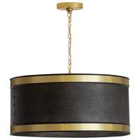 Capital Lighting 335641GB Signature 4 Light 20 inch Galvanized Black and True Brass Pendant Ceiling Light