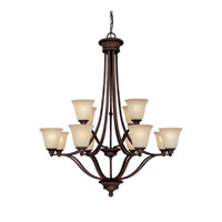 Capital Lighting Belmont 12 Light Chandelier in Burnished Bronze with Mist Scavo Glass 3412BB-287