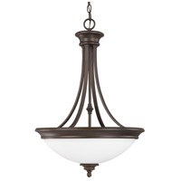 Belmont 3 Light 18 inch Burnished Bronze Pendant Ceiling Light in Soft White Glass