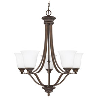 Belmont 5 Light 26 inch Burnished Bronze Chandelier Ceiling Light in Soft White Glass
