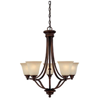 Belmont 5 Light 26 inch Burnished Bronze Chandelier Ceiling Light in Mist Scavo Glass