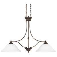 Belmont 2 Light 36 inch Burnished Bronze Island Light Ceiling Light in Soft White Glass