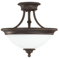 Belmont 2 Light 15 inch Burnished Bronze Semi-Flush Ceiling Light in Soft White Glass
