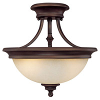 Belmont 2 Light 15 inch Burnished Bronze Semi-Flush Mount Ceiling Light in Mist Scavo Glass
