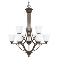 Belmont 9 Light 31 inch Burnished Bronze Chandelier Ceiling Light in Soft White Glass