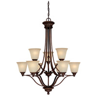 Belmont 9 Light 31 inch Burnished Bronze Chandelier Ceiling Light in Mist Scavo Glass