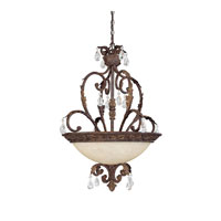 Capital Lighting Seville 3 Light Pendant in Gilded Umber with Crystals 3444GU-CR