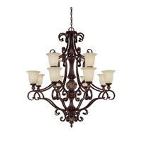 Capital Lighting Manchester 12 Light Chandelier in Chesterfield Brown with Rust Scavo Glass 3512CB-294