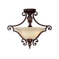Capital Lighting Manchester 2 Light Semi-Flush Mount in Chesterfield Brown with Rust Scavo Glass 3513CB