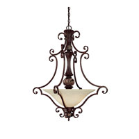 Capital Lighting Manchester 3 Light Pendant in Chesterfield Brown with Rust Scavo Glass 3514CB photo thumbnail
