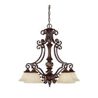 Capital Lighting Manchester 5 Light Chandelier in Chesterfield Brown with Rust Scavo Glass 3515CB-245
