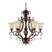 Capital Lighting Manchester 6 Light Chandelier in Chesterfield Brown with Crystals 3516CB-294-CR photo thumbnail