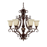 Capital Lighting Manchester 6 Light Chandelier in Chesterfield Brown with Rust Scavo Glass 3516CB-294 photo thumbnail