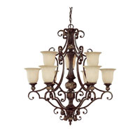 Capital Lighting Manchester 9 Light Chandelier in Chesterfield Brown with Rust Scavo Glass 3519CB-294 photo thumbnail