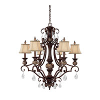 Capital Lighting Manchester 6 Light Chandelier in Chesterfield Brown with Crystals 3526CB-440-CR photo thumbnail
