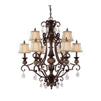 Capital Lighting Manchester 9 Light Chandelier in Chesterfield Brown with Crystals 3529CB-440-CR photo thumbnail