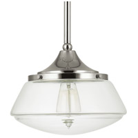 Signature 1 Light 11 inch Polished Nickel Mini-Pendant Ceiling Light in Clear Glass