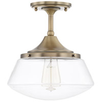 Baxter 1 Light 11 inch Aged Brass Semi-Flush Mount Ceiling Light