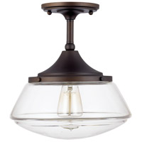 Signature 1 Light 11 inch Burnished Bronze Semi-Flush Ceiling Light in Clear