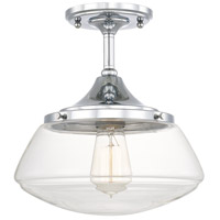 Schoolhouse 1 Light 11 inch Chrome Semi-Flush Mount Ceiling Light in Clear