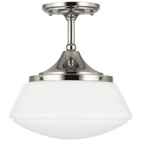 Signature 1 Light 11 inch Polished Nickel Semi-Flush Ceiling Light in White