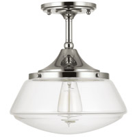 Capital Lighting Signature 1 Light 11 inch Polished Nickel Semi-Flush Ceiling Light in Clear