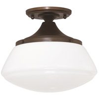 Signature 1 Light 10 inch Burnished Bronze Ceiling Flush Ceiling Light in White